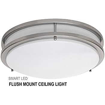 Smartled 16 inch led flush mount ceiling light fixture antique brushed nickel dimmable 23w 180w equivalent 1610 lumens 4000k 5000k cri80 etl listed