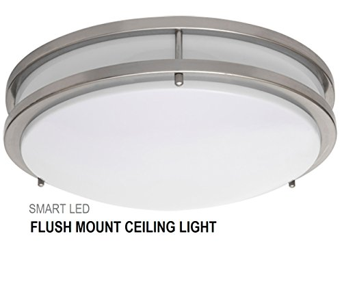 SmartLED 16-Inch LED Flush Mount Ceiling Light Fixture, Antique Brushed Nickel, Dimmable, 23W (180W Equivalent) 1610 Lumens, 4000K/5000K, CRI80, ETL Listed, ENERGY STAR Certified (1-Pack, 4000K) - Indoor Ceiling Light Fixture