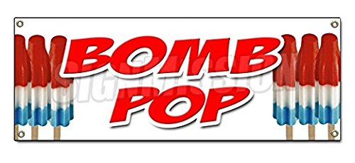 (Bomb POP Sticker Sign Watermelon Hawaiian Punch Banana Fudge Frozen Cold Sticker Sign - Sticker Graphic Sign - Will Stick to Any Smooth Surface)