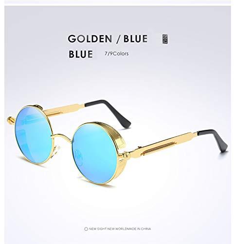 a8e915f969 Gold Round Polarized Sunglasses Gothic Steampunk Sunglasses Mens Womens  Fashion Retro Vintage Shield Glasses Eyewear Blue  Amazon.co.uk  Clothing