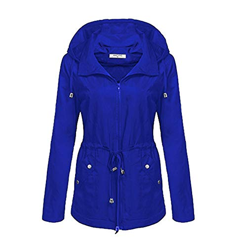 UONQD Women Winter Hooded Long Sleeve Lightweight Rain Jacket Raincoat Trench Coat (Large,Blue) -