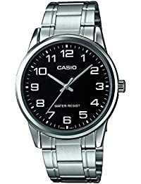 #MTP-V001D-1B Mens Standard Stainless Steel Easy Reader Black Dial Watch · Casio