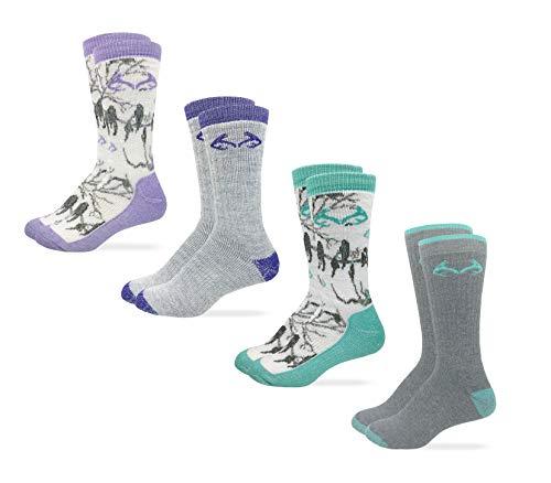 Realtree Womens Full Cushion Merino Wool Camo Pattern Crew Socks 4 Pair Pack (Lilac/Mint Camo and Grey, Women