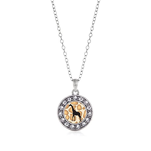 - Inspired Silver Giraffe Silhouette Circle Charm Necklace Clear Crystal Rhinestones