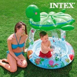 Piscina Hinchable con Sombrilla Tortuga Intex: Amazon.es: Jardín
