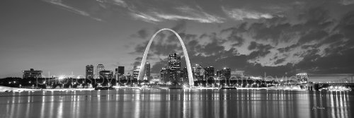 (St. Louis Skyline PHOTO PRINT UNFRAMED DUSK Sunset Black & White BW City Downtown 11.75 inches x 36 inches Gateway Arch Photographic Panorama Poster Picture Standard)