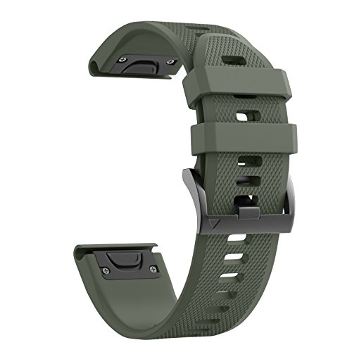 Notocity Compatible Fenix 5X Band 26mm Width Soft Silicone Watch Strap for Fenix 5X/Fenix 5X Plus/Fenix 3/Fenix 3 HR Smartwatch-Army Green