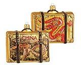 China Suitcase Polish Glass Christmas Ornament Travel Decoration