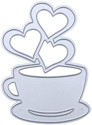 Love Heart Coffee Cup Metal Cutting Dies Stencil Scrapbook Album Embossing Craft