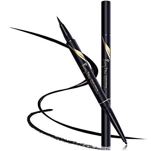 - PrettyDiva Liquid Eyeliner - Double Head Eyeliner Pen with Kohl Eyeliner Waterproof Smudgeproof Gel Eyeliner Pencil for Creating Smokey Cat Eye- Black(Duo Eyeliner)