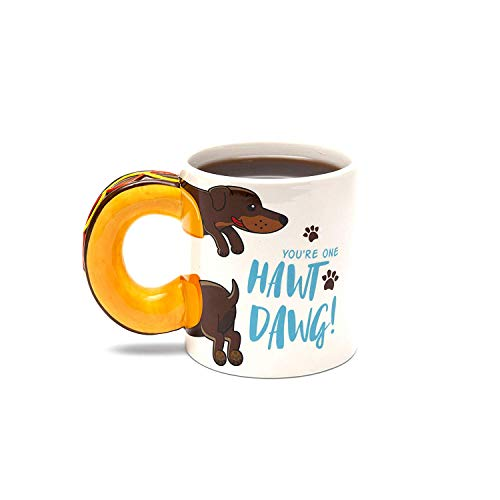 (BigMouth Inc Hawt Dawg Coffee Mug - Hilarious 20 oz Ceramic Weiner Dog Coffee Mug with Hot Dog Shaped Handle, Funny Mug is Perfect for Home or Office, Makes a Great Gift)