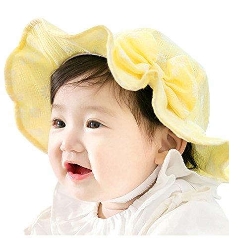 8621dd93aa5 Sumolux Toddlers Baby Girls Cute Floral Bowknot Mesh Large Brimmed Cotton  Sun Protection Floppy Hat Summer