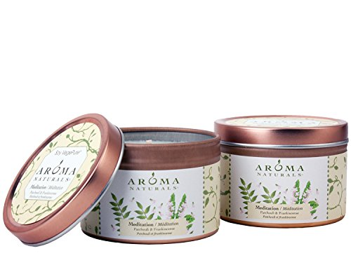 Aroma Naturals Tin Candle with Patchouli and Frankincense Essential Oil Natural Soy Scented, Meditation, 2 Count
