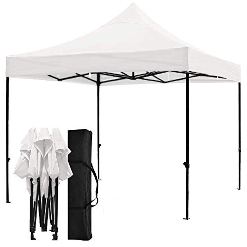 Snail 10x10-FT Easy Pop up Canopy Tent with Heavy Duty 420D Waterproof and UV-Treated Cover, Shade for Beach Outdoor Commercial Tent Instant Sun Shelter Gazebo with Carrying Bag, White ()