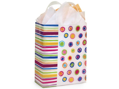 Pack Of 250, Cub Size 8 x 4 x 10'' Rainbow Spots Plastic 3 Mil Shopping Bags W/6 Mil Handle by Generic