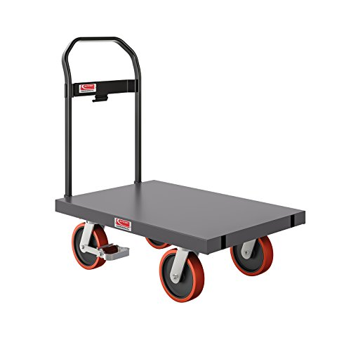 Suncast Dolly Cart with Brake - Heavy Duty Steel Rolling Push Cart Dolly - Stowable Handle - Platform Dolly Cart - 24