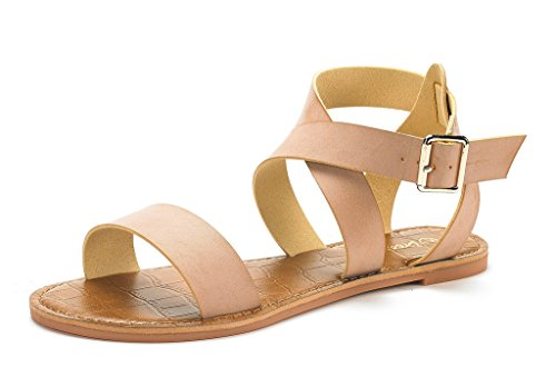 DREAM PAIRS Women's Open Toe Summer Flat Sandals Nude Size 5.5