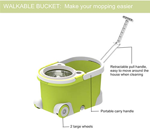 ALLZONE Spin Mop Bucket With Wringer On Wheels, Hardwood Floor Cleaning System, With 3 Microfiber Mop Refills by ALLZONE (Image #3)