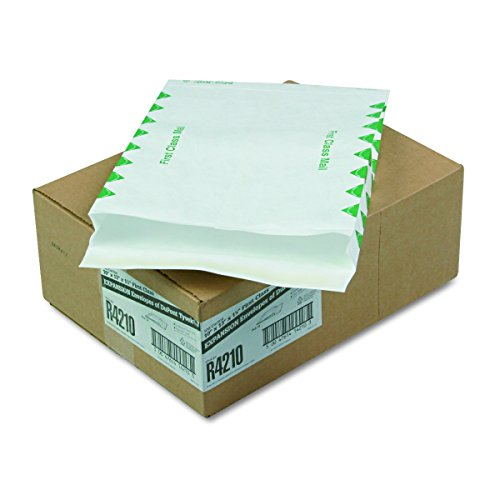 White End Envelopes Plain Expansion (Survivor R4210 Tyvek Expansion Mailer, First Class, 10 x 13 x 1 1/2, White, 18lb (Case of 100))