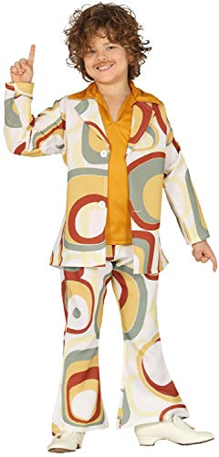 (Boys 1960s 1970s Disco Suit Hippie Hippy Woodstock Soul Train Party Carnival Fancy Dress Costume Outfit 5-12 Years (7-9)