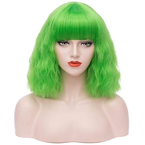 Mildiso Green Bob Wigs for Women with Bangs Short Colored Costume Wigs Full Cosplay Party Wigs M079G