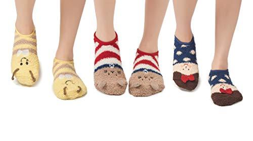 Leotruny Women's Animal Winter Cute Cozy Warm Fuzzy Slipper Socks (C11-Bee/Cat/Litter Girls) (Cat C11)