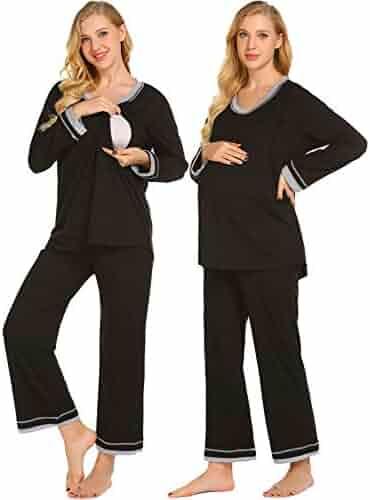 f34eb05bea9b6 Ekouaer Maternity Nursing Pajamas Set Women s Soft Pregnancy PJs  Breastfeeding Hospital Sleepwear Set S-XXL