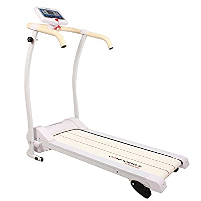 Confidence Power Trac Pro Motorized Electric Folding Treadmill with 3 Manual Incline Settings(white)