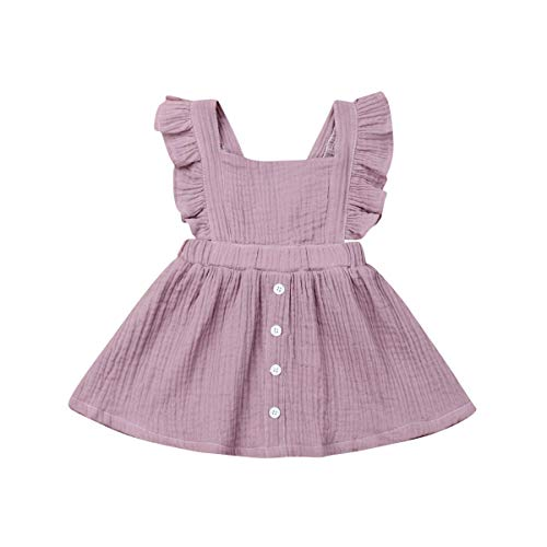 Toddler Baby Girl Infant Comfy Cotton Linen Lace Princess Overall Dress Sundress (R-Dress 2(Purple), 6-12 Months) ()