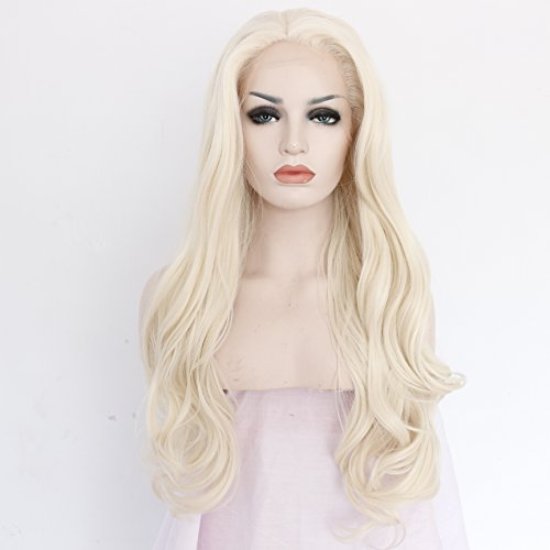 Ebingoo Handmade Wavy Blonde Synthetic Lace Front Wig Heat Resistant Hair (24inches)
