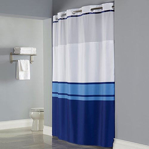 Hookless RBH40MY027 Windsor Shower Curtain with FABRIC Liner - Blue (3 Stripe Shower Curtain)