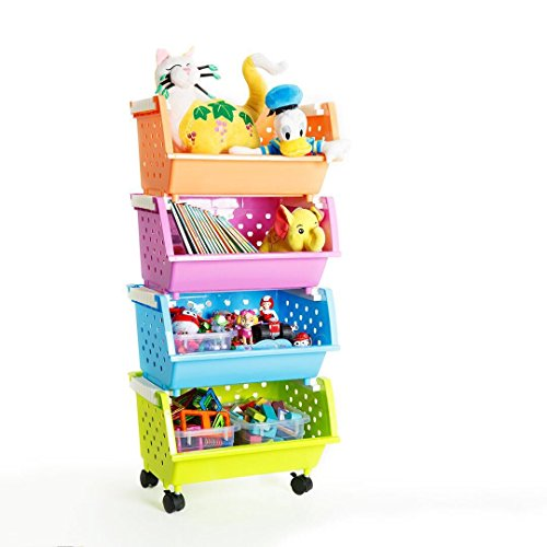 MAGDESIGNER 4 Baskets Kids' Toys Chest with Wheels Can Move Everywhere Toy Storage Bins Organizer Large Basket Natural/Primary (Primary Collection) (4 Sets Choose)