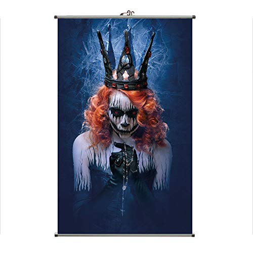 (iPrint Wall Hanging Picture Wall Scroll Poster Fabric Painting,Art Halloween Evil Face Bizarre Make Up Zombie,3D Print Design Personality Customization Make Your Room unique23.6)