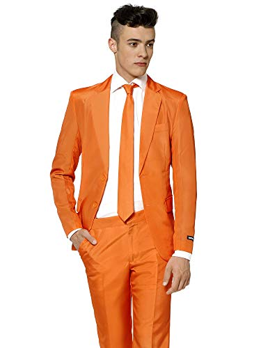 Suitmeister Solid Colored Suits - Orange - Includes Jacket, Pants & TiE ()