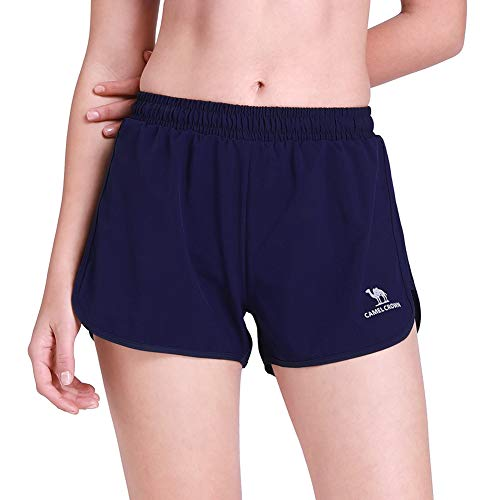 CAMEL Women's Running Shorts 3'' Athletic Shorts Double Layer Elastic Waistband Sport Shorts for Workout Fitness Gym Training Dark Blue