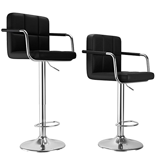 Modern Square Leather Adjustable Swivel Bar Stool Chair with Armrest, Set of 2 (Black) (Armed Bar Stool)
