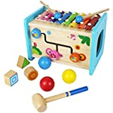 Flow.month Educational Wooden Activity Cube with Baby Xylophone Pounding Ball and Shape Sorter Baby Toddler Kids Gifts Toys for 2 3 4Year Old Girl and Boy