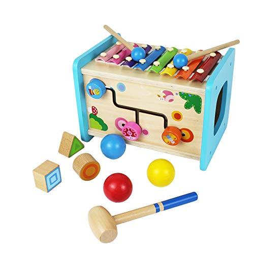Homlory Educational Wooden Activity Cube with Baby Xylophone Pounding Ball and Shape Sorter Baby Toddler Kids Gifts Toys for 1 2 3 Year Old Girl and Boy