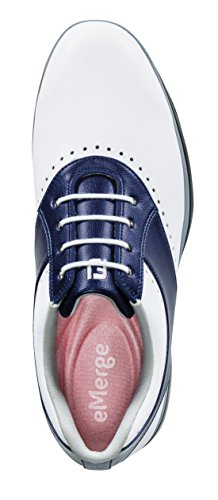 FootJoy Women's eMerge Spiked Golf Shoes, Close-out (7 B(M) US, White/Navy Linen 93900) by FootJoy (Image #2)