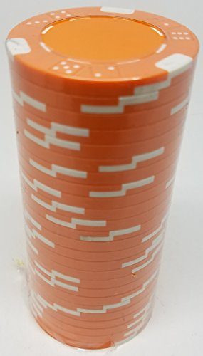 Poker Chips - (25) Orange Double Dice Mold 11.5 g Clay Composite