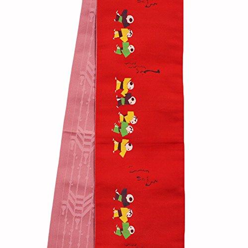 バス溝路面電車【洗える半幅帯】【赤地系×紫がかったピンク系 / 童の柄】日本製 両面柄 小袋帯 お洒落着物 浴衣