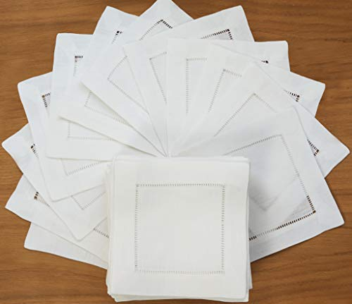 White Linen Cocktail Napkin-Set of 50 6