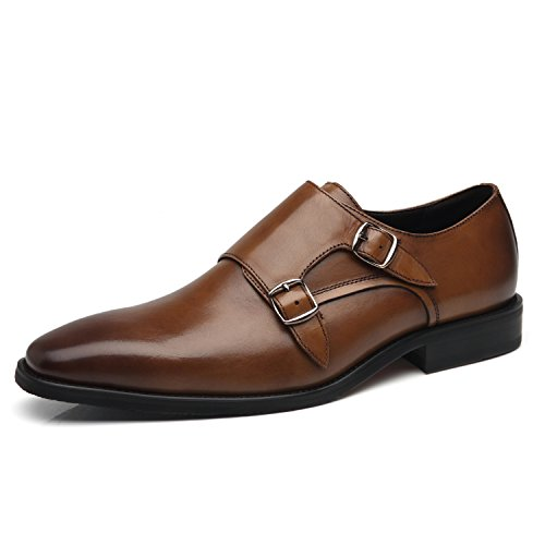 La Milano Mens Double Monk Strap Slip On Loafer Leather Oxford Wingtip Formal Business Casual Comfortable Dress Shoes For Men Wing-2-brown