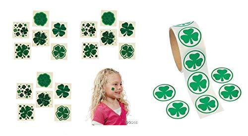 SHAMROCK Party Favors - 100 St Patrick's IRISH Luck Stickers & 72 Assorted TATTOOS - Ireland BAR - Teacher - Classroom ()