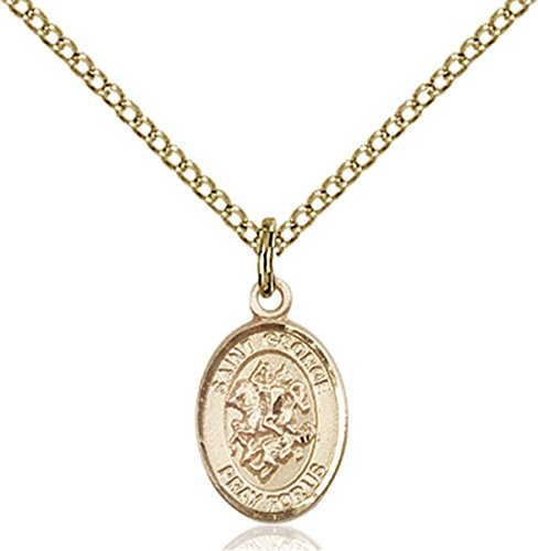 Patron Saints by Bliss 14K Gold Filled Saint George Petite Charm Medal, 1/2 Inch ()