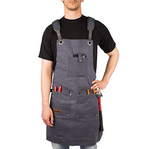 Waxed Canvas Heavy Duty Work Apron With Pockets - Deluxe Edition - with Quick Release Buckle Adjustable up to XXL for Men and Women - Texas Canvas Wares (Grey Deluxe Edition)