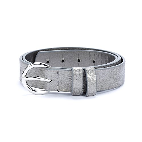 Girls Vintage Frosted Leather Belt (S/M 4-7Y, Pewter Grey)
