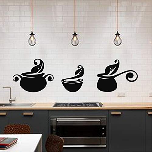 apolxs Wall Decal Sticker Art Mural Home Dcor Quote Series of Pots for Kitchen Dining Room ()