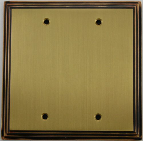 (Deco Step Style Antique Brass 2 Gang Blank Wall Plate)