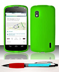 Accessory Factory(TM) Bundle (the item, 2in1 Stylus Point Pen) For LG Nexus 4 E960 (T-Mobile) Silicon Skin Case Cover Protector - Neon Green SC Soft Silicone Jelly Rubber Phone
